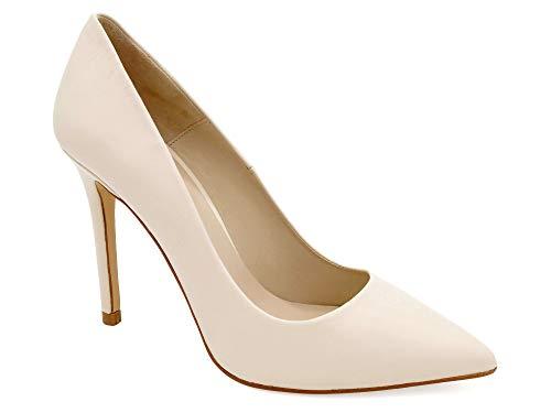 EHYA Damen Pumps elegant 38-EU Creme hell-beige Leder High Heels Brautschuhe Abendschuhe mit Stiletto Absatz 10-cm hoch Produziert In Spanien