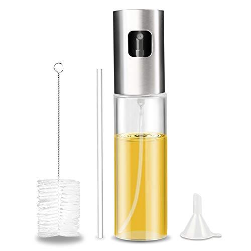 Gifort Pulverizador de Aceite portátil,100 ML Acero Inoxidable Aceite de Oliva,Botella de Cristal con Cepillo de Tubo Extra y Tubo de Repuesto