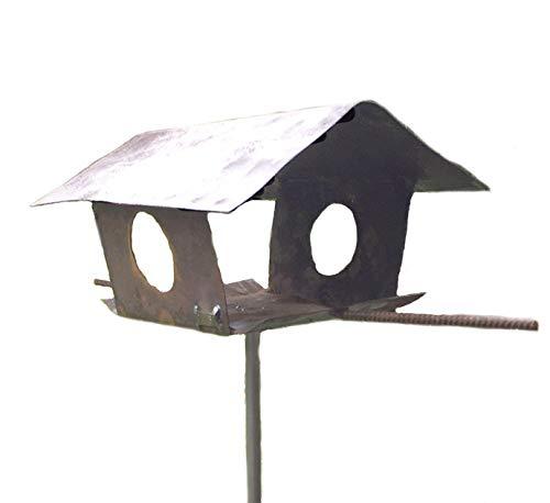 Vogelhaus Futterhaus für Vögel aus Metall im Rost Look, die ideale Futterstelle für Ihren Garten