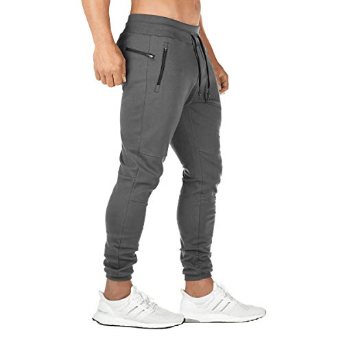 FEDTOSING Jogginghose Herren Fitness Spotshose Slim Fit Trainingshose Sweatpants Chino Baumwolle Taschen(DE194 Gray 2XL)