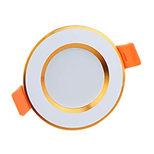 RongWang Downlight LED empotrable ultra delgado plateado blanco dorado LED lámpara de techo 3W 5W 9W LED foco de iluminación para sala de estar dormitorio (color: oro, tamaño: blanco cálido)