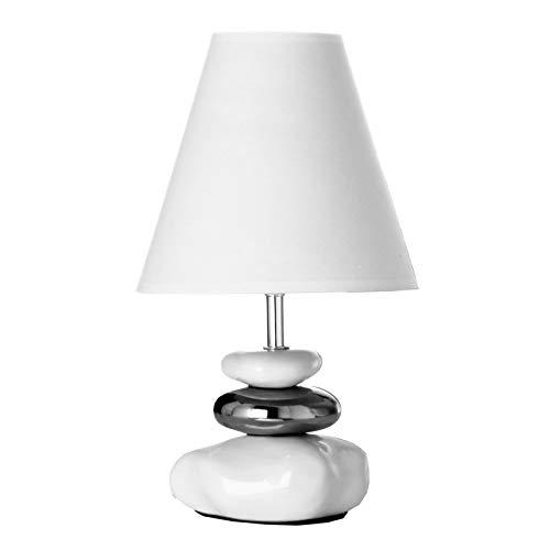 Lámpara de mesita de noche oriental de cerámica blanca de 20x35 cm.