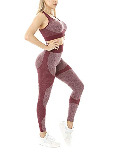 Conjunto de ropa deportiva para mujer de 2 piezas de trajes de yoga de cintura alta y sujetador deportivo para gimnasio, yoga, fitness, entrenamiento