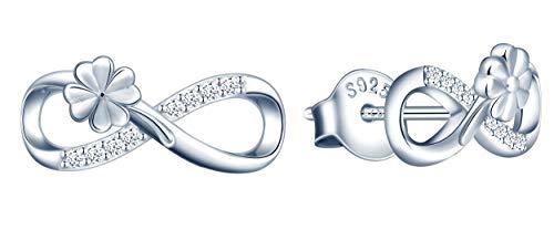 INFINIONLY Orecchini da donna ragazza, Parure di gioielli Orecchini in argento sterling 925, orecchini simbolo dell'infinito e trifoglio, intarsio in zirconio, argento