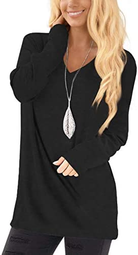 Jescakoo Long Sleeve Black Tops for Women Fall Deep V Neck Long T Shirts M product image