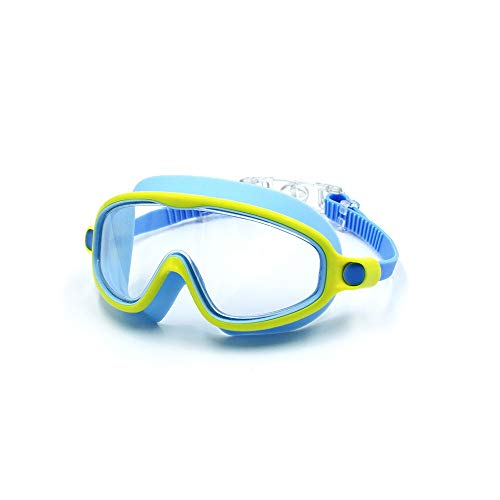 Nologo GSEKBCV Kinder-Schwimmbrille for (Alter 6-12), Anti-Fog Keines Undichte Schwimmbrille for Jugend Kinder, Tresor weichen Silikon-UV-Schutz Shatterproof Lens-Wider Klar Vision- Indoor & Outdoor