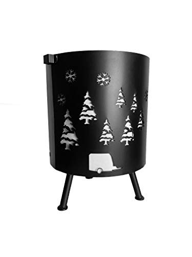 Bonamaison Fire Pit with Decorative Cutouts, Diameter 30 cm, Cast Iron, Snowflakes, Christmas Tree and Caravan Pattern, Fire Bowl for Heating/BBQ - Designed and Manufactured in Turkey