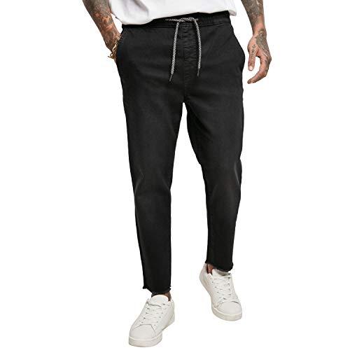 Urban Classics Herren Denim Jogger Jeans Klassische Hose, Black, S