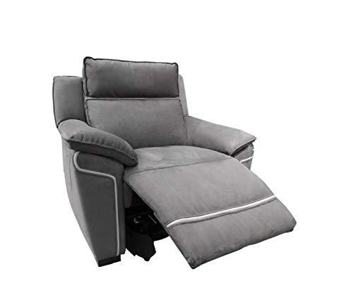 Meubletmoi - Sillón Relaxation gris – motorizado – Tejido de antelina suave – Muy cómodo – Lucia