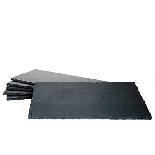 MamboCat 6er-Set Schieferplatte 17x34cm I Rustikaler Stein-Teller aus Schiefer - mit naturbelassener Bruchkante I ideal als Sushi-Platte & Servier-Teller I 6 Stück Servier-Platte Schwarz 17 x 34 cm