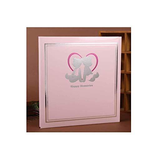 ZTMN album, handgemaakt traditioneel herinneringsfotoalbum, geschikt voor liefhebbers van baby Grow Family Youth Fashion Style (biedt ruimte voor 400-500 foto's, roze) (kleur: roze)