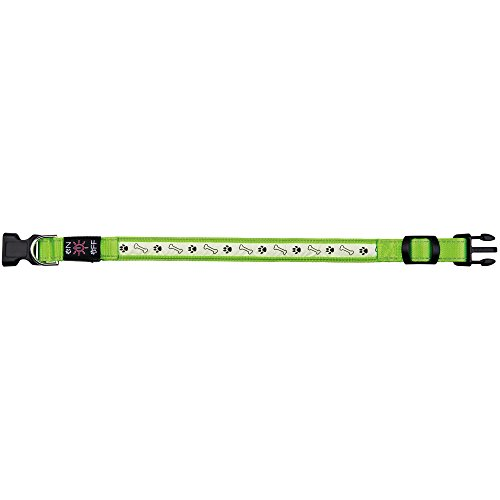 Trixie 13076 Flash Leuchthalsband USB, M–L: 40–50 cm/25 mm, grün