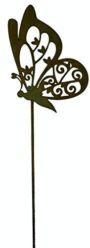 Rostikal Décoration Métal Papillon Anita, Latérale sur Tige en Patine