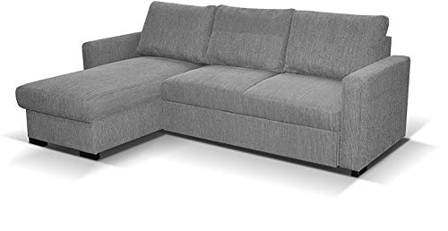 Amazing Sofas L- shaped CORNER SOFA BED Tokio with STORAGE - GREY. Fire resistant as per British Standards, foam filled seats for SALE.