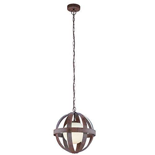 Preisvergleich Produktbild VINTAGE Hänge Lampe Glas Schirm Käfig Wohnraum Pendel Decken Leuchte Rost Farben Eglo 49629