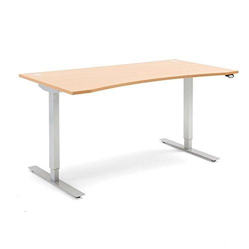 AJ Produkter AB 152831 Flexus Schreibtisch, geschwungen, elektrisch höheverstellbar, 1600 mm x 800 mm, Laminat, Buche