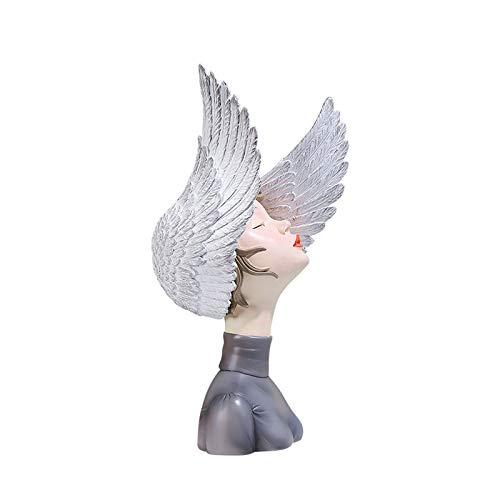 Scultura Da Tavolo Statua della ragazza della resina, ornamenti del desktop della scultura dell'arte delle donne, forma delle ali creative, per il salotto Armadietto del vino, buona casa Decorazione p