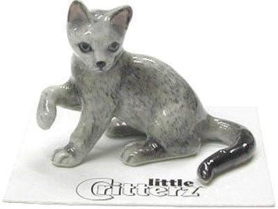 """CAT Russian Blue Kitten""""Silver"""" Lifts paw Miniature Porcelain New Figurine Little Critterz LC909"""