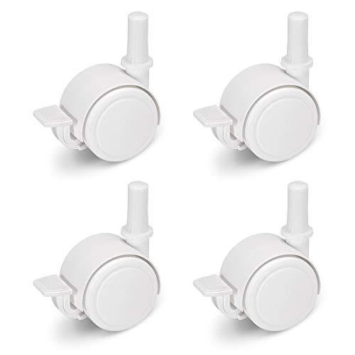 FabiMax 3117 Parkettrollensatz (4 Stück) mit Bremse für Kindermöbel, weiß