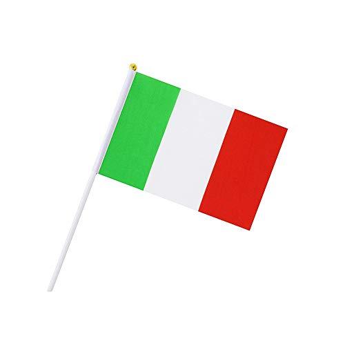 Naisidier - Lot de 50 minis drapeaux de l'Italie sur bâton, 14 x 21 cm