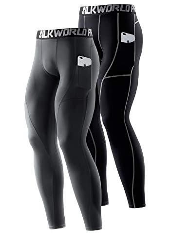 SILKWORLD Men's Compression Pants Pockets Cool Dry Athletic Leggings Baselayer Sports Running Tights (Pack of 2), 2 Pack_Grey+Black(Grey Stripe), Medium