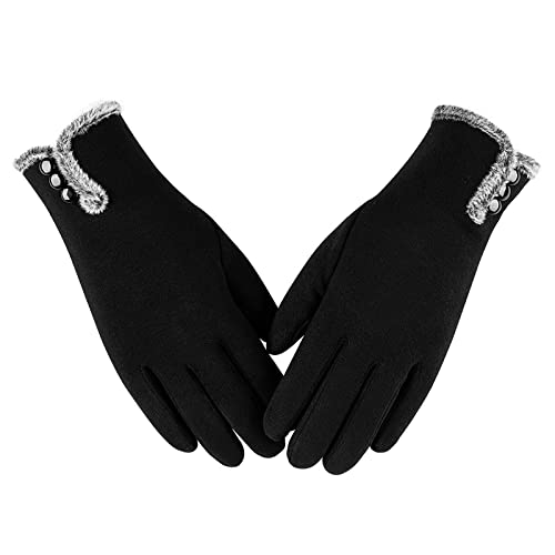 Womens Winter Warm Gloves With Sensitive Touch Screen Texting Fingers, Fleece Lined Windproof Gloves (Black-M)