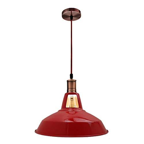 Lámpara de techo estilo retro vintage con soporte de latón rojo