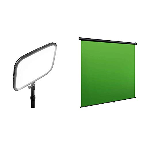 Elgato Key Light Panel LED de Estudio Profesional con 2800 Lúmenes + Green Screen MT Panel Chromakey colgable, Bloqueo y replegado automáticos ✅