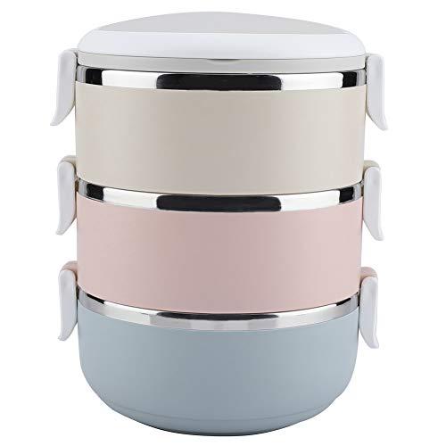 Fdit 3 Schichten Lunchbox aus Edelstahl, tragbare Bento-Box für Lebensmittel für studentische Büroangestellte (2100 ml)