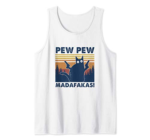 Cat Pew Pew Madafakas Vintage Crazy Cat Funny Graphic Tank Top