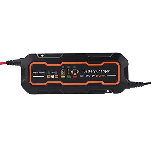 Cargador de batería para automóvil Cargador de motocicleta - 6V / 12V - Protección múltiple Mantenimiento de batería completamente automático - Carga de batería de 3 etapas para una larga duración