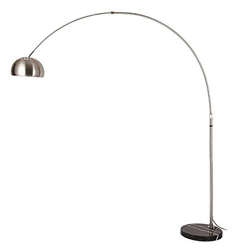 HKLY Lampada da Terra LED, Lampada da Pavimento ad Arco con Base Rotonda in Marmo, Altezza Regolabile Piantana Acciaio Inossidabile Lampada Dimmerabile per Soggiorno Camera da Letto Ufficio, 7W,Medium