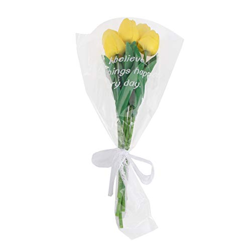 Amosfun Ramo de tulipanes artificiales de imitación de flores tallos, púas de seda de tacto real, arreglo floral, centro de mesa con envoltura para florero, boda, fiesta, decoración del hogar