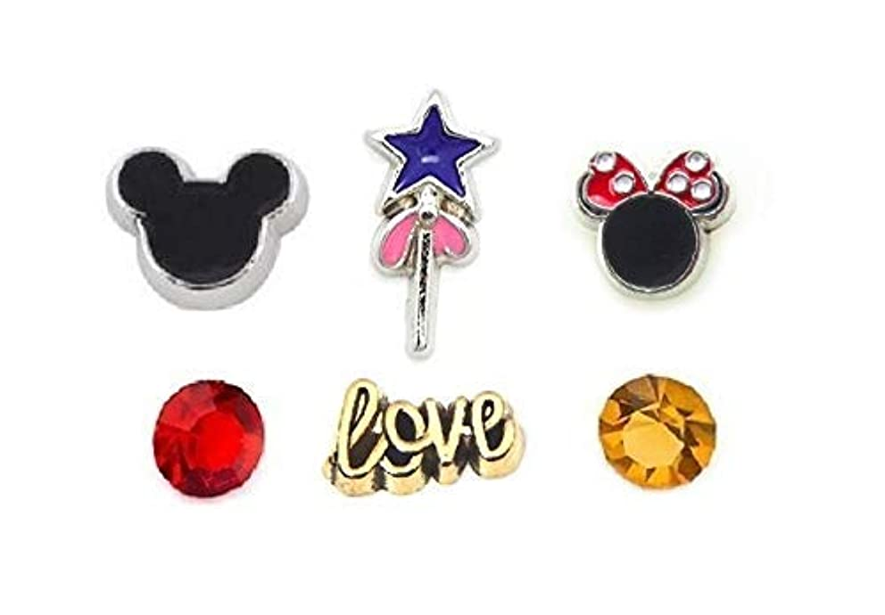 Cherityne Mickey Lover Theme Set of 6 Floating Charms for Locket Pendant