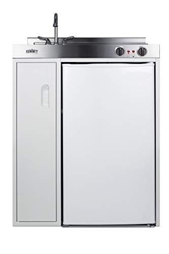 Summit C30EL 30 Inch Wide All-In-One Kitchen Unit - Refrigerator, Freezer, Stainless Steel Countertop, Cooktop, Sink, and Storage Compartment