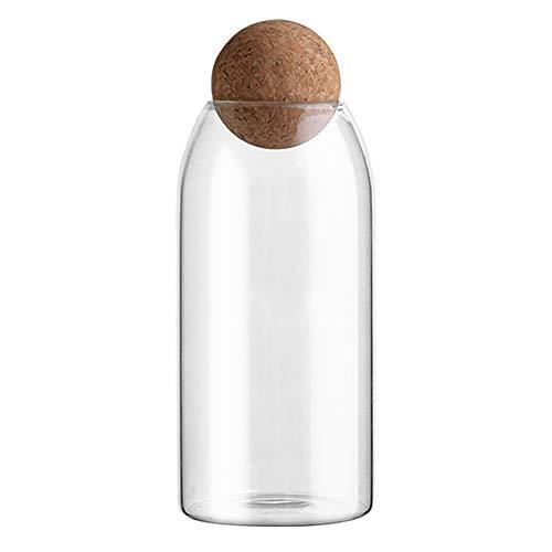 Botella de cristal para almacenamiento de alimentos, tarro de cristal transparente con corcho para granos de té, granos de caramelos, tamaño grande