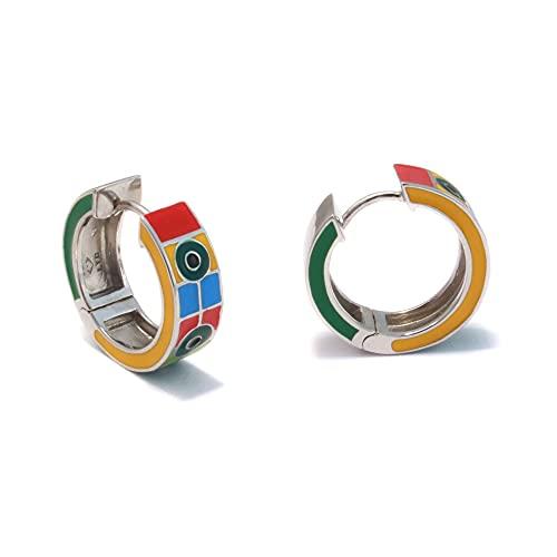 Pendientes de aro de 18 mm, plata 925 esmaltada, pendientes anchos y multicolor, pendientes de aro con cierre de clip, de plata 925, joyas esmaltadas, sin níquel