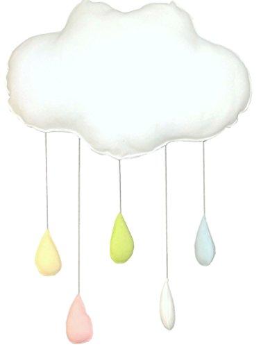 Babymajawelt® CLOUD Wolke XL Regenbogentropfen, Baby Mobile, Wand Dekoration Kinderzimmer Babykissen Deko zum Aufhängen