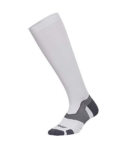 2XU Vectr Socken für Erwachsene, Unisex, volle Länge, Unisex-Erwachsene, Socken, Vectr Full Length Sock, weiß/grau, X-Large