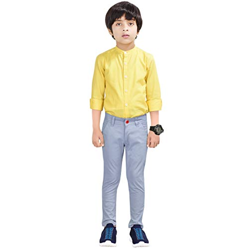 Made In The Shade Boy's Slim Fit Solid Chino Trouser with Adjustable Waist Elastic, 100% Cotton, Sky