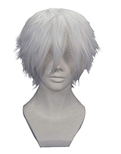 Anogol Hair Cap + Silver White Men's Short Straight Costume Party Cosplay Wig