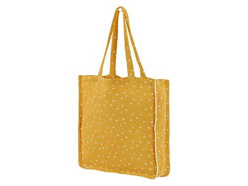 KraftKids Tragetasche Musselin gelb Pusteblumen, Shopper modern für Mädchen, Jungen und Erwachsene, Tote Bag Einkaufstasche aus Stoff aus 100% Baumwolle