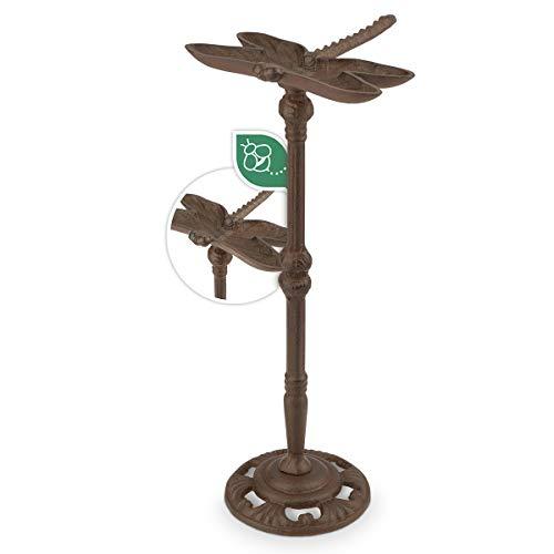 WILDLIFE FRIEND | Vogeltränke stehend, Vogeltränke Garten auf Stab mit Standfuß - L 20cm x H 41cm I Vogelbad frostsicher aus Gusseisen in Libellform, Vogelfutterspender