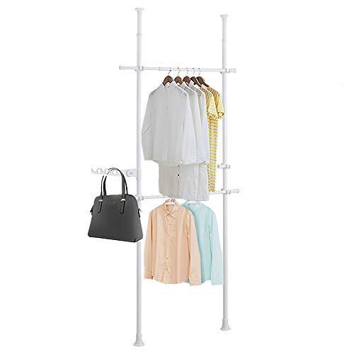DYN Ptah White Clothing Rack for Hanging Clothes 2 Tier Adjustable Heavy Duty Free Standing Closet System Garment Racks Floor to Ceiling Organizer