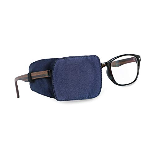 Astropic Silk Eye Patch for Adults Kids Glasses to Cover Either Eye (Navy Blue)