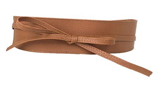 Xiang Ru Pu Leder Damen Breite Gürtel Taillengürtel Hüftgurt Wickelgürtel,220CM Länge Braun