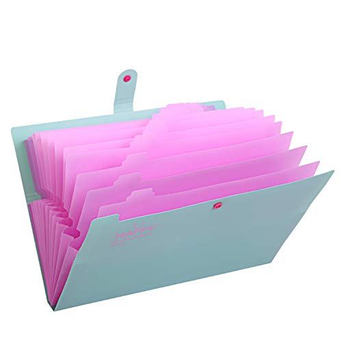 Skydue Expanding File Folders 12 Pockets Accordion File Folder A4 and Letter Size Paper Document Organizer Folders for School Office (Jade)