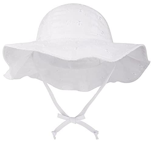 SimpliKids UPF 50+ UV Sun Protection Wide Brim Baby Sun Hat,White2, 0-12 Months