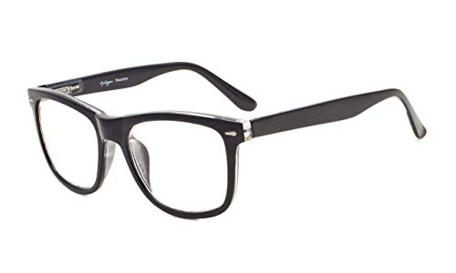 Eyekepper Damen und Herren lesebrillen mit Große Quadratische Gläsern und Federscharniere in Schwarz +1.00