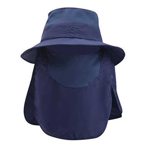 DOLDOA Hut Damen Sommer,Sommer Outdoor Sonnenhut Schutz Eimer Boonie Cap Solid Einstellbare Angeln Hut (Marine)